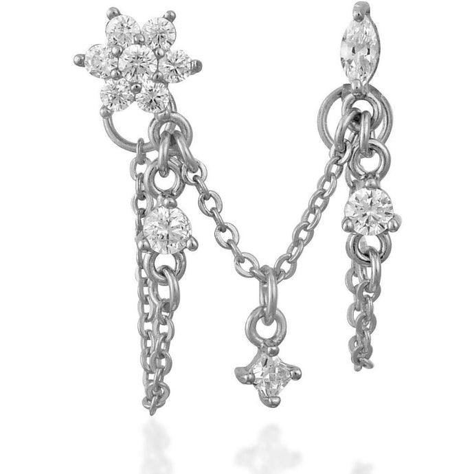Mila Double Chain Stud Silver - SINGLE