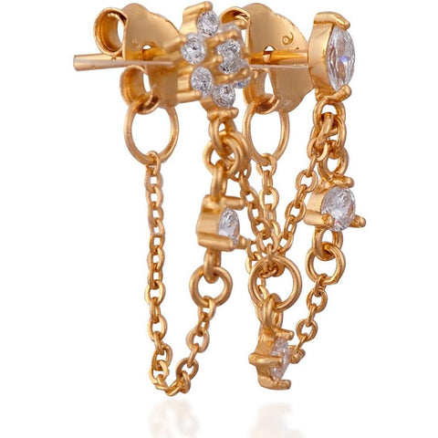 Mila Double Chain Stud Gold - SINGLE