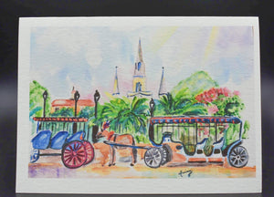 Carriages at Jackson Square Notecard