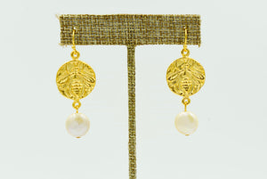 Gold Coin Bee Earring