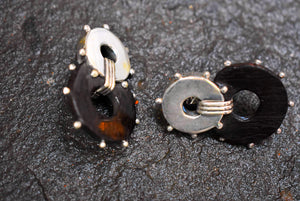Spratling Silver and Ebony Bonjo Earring