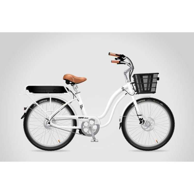 White Step Through Silver Rims, Fenders & Black Basket - electricwheelz