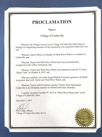 Official Proclamation of Third Wave Water Day