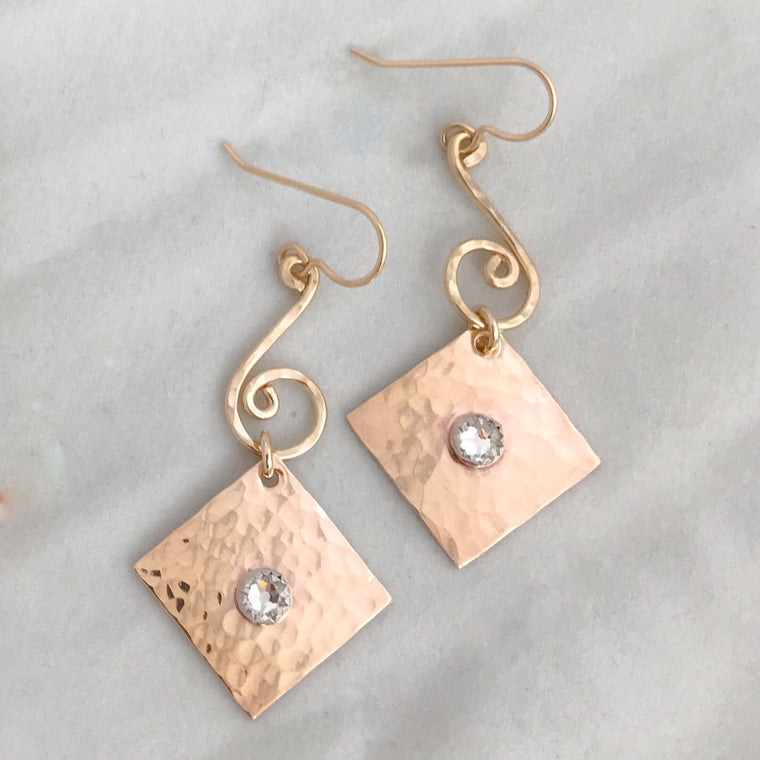 Small spirals with Swarovski Crystal Earrings