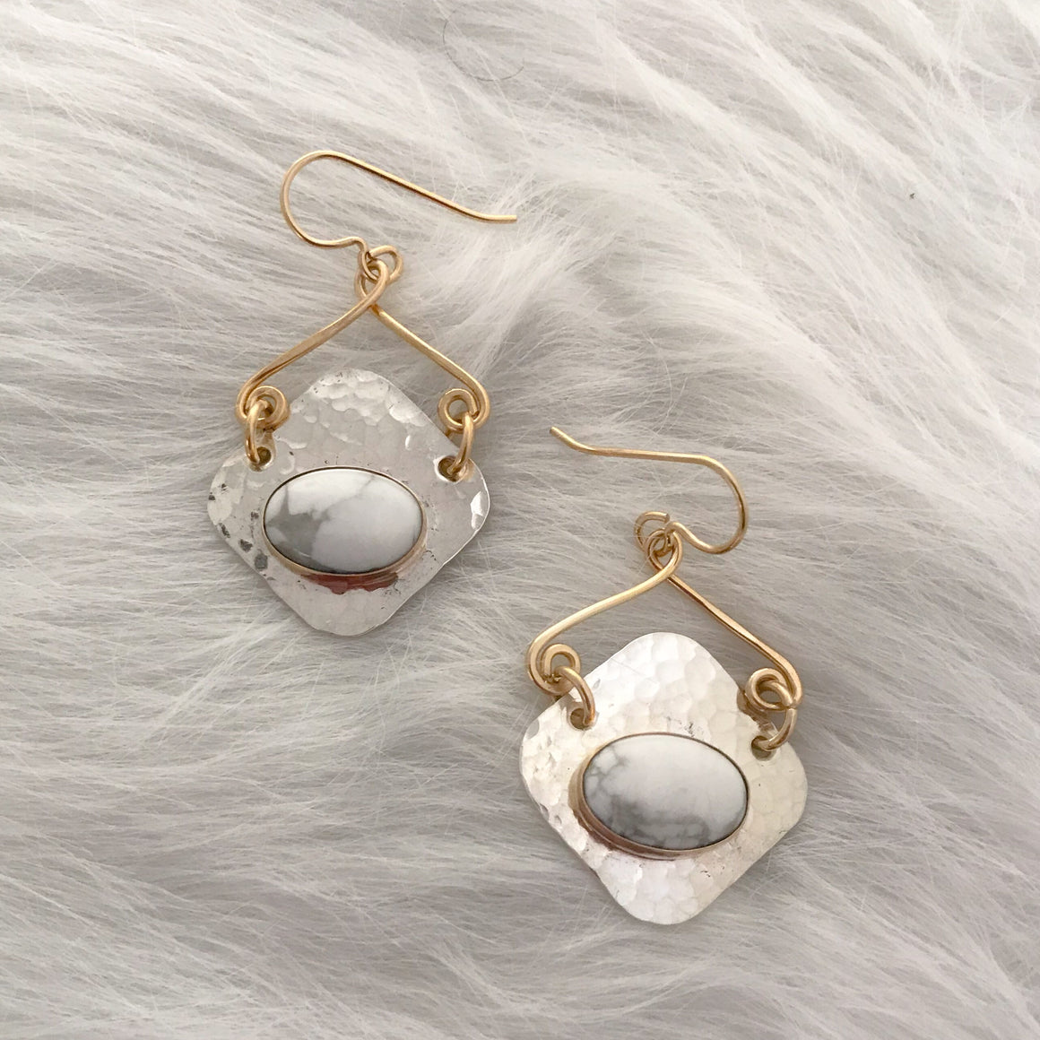 Two Tone White Howlite Earrings