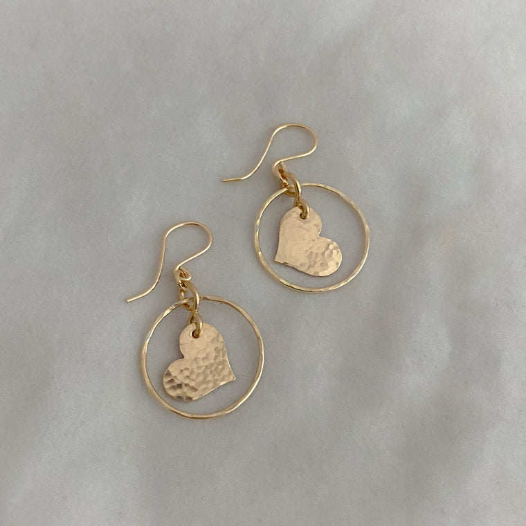 Hoop and Heart Earrings -RTS