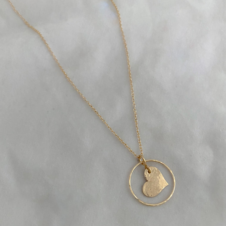 Hoop and Heart Necklace - RTS