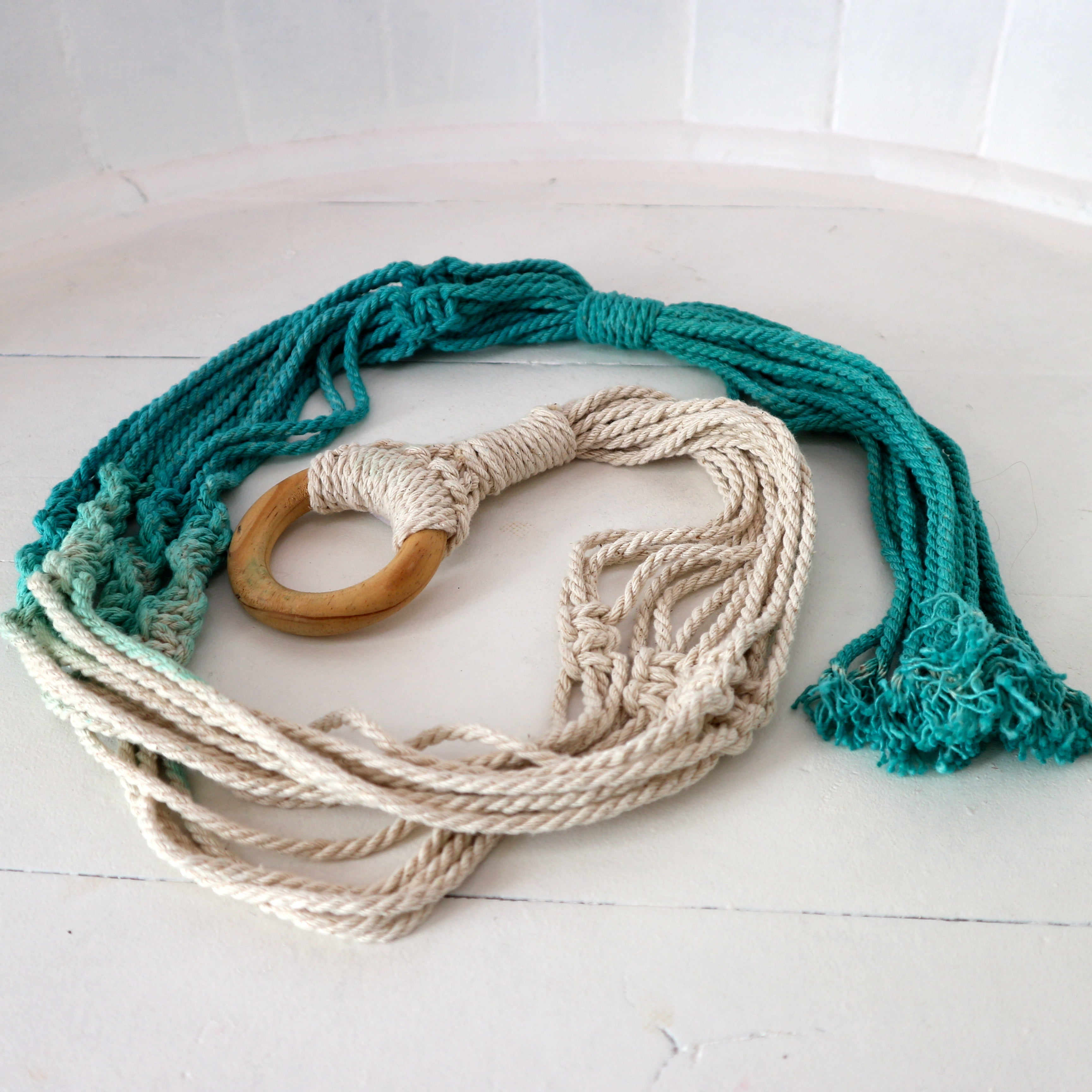 Turquoise Dip Dyed Macrame Plant Holder