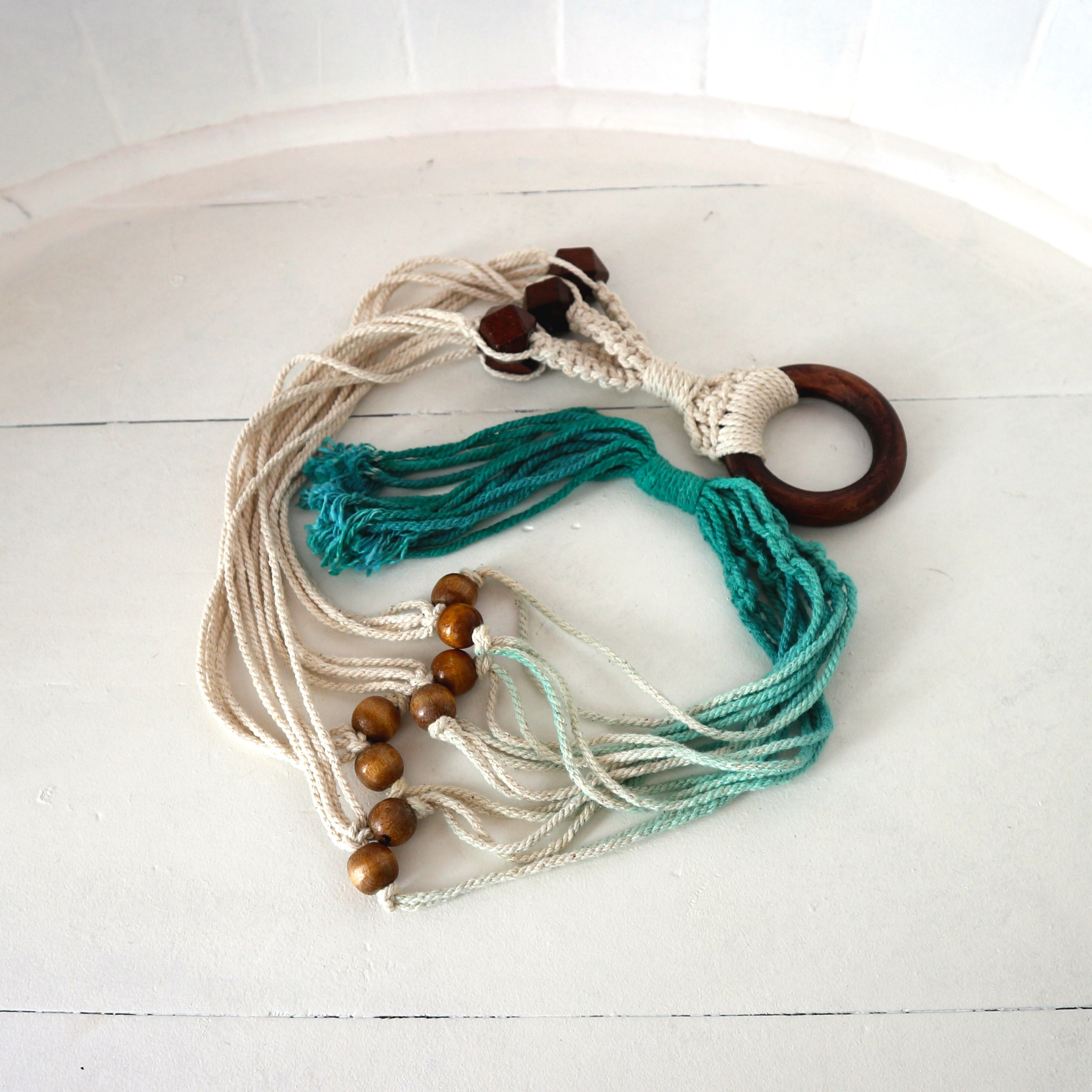 Turquoise Beaded Macramé Plant Holder