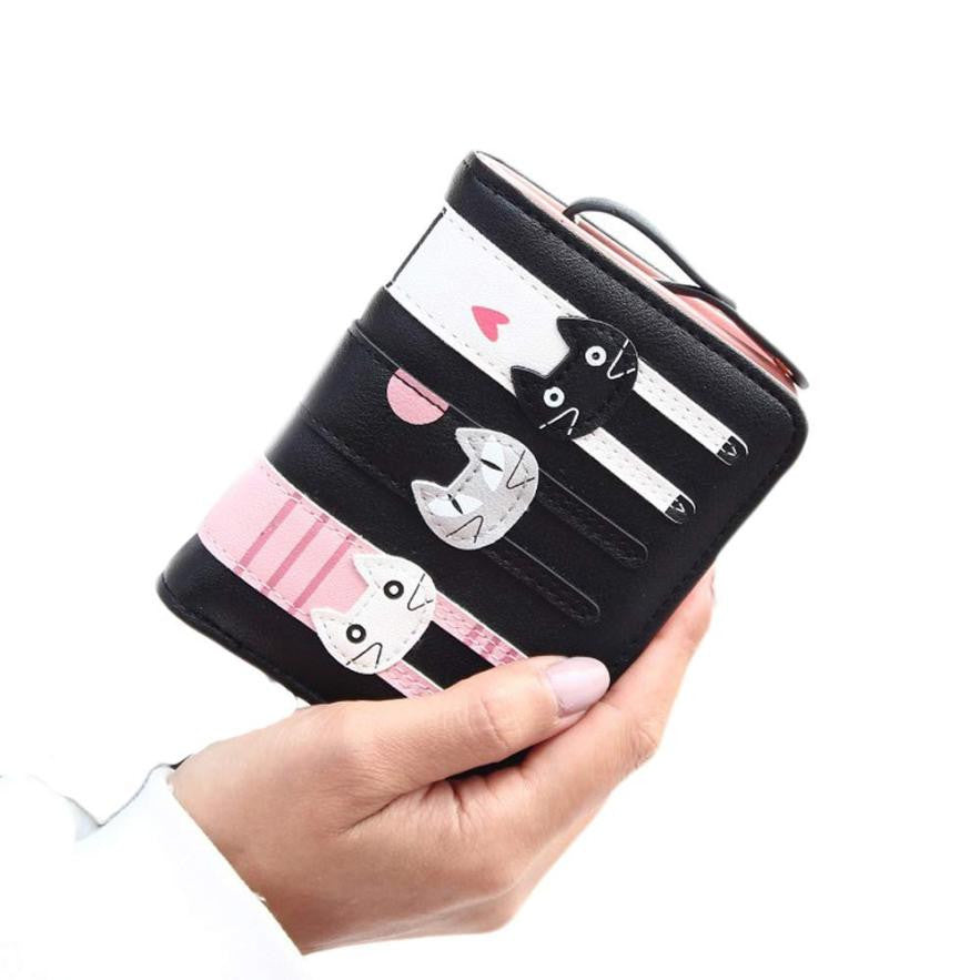Cute and stylish Cat Wallet - bifold leather finish