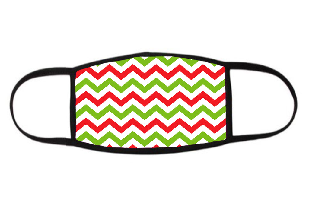 Red and Green Zig-Zag Holiday Face Mask