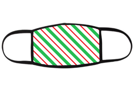 Green, Red and White Stripe Holiday Face Mask