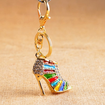 Crystal High Heel Shoes Keychain