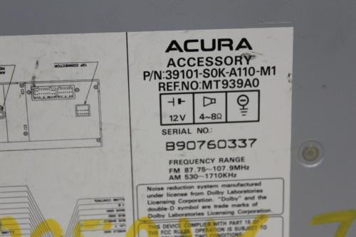 1999 acura radio serial number