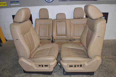 2009-2014 F-150 Crew Cab Front&Rear Seat Tan Leather Set Oem Powered Heat Cool
