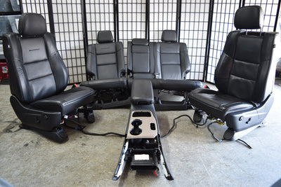 14 - 17 Jeep Grand Cherokee Summit Black Leather Seats Set Console Dvd Tv Oem