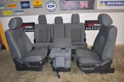 2011-2016 F-250 FRONT & BACK SEAT SET WITH STORAGE COMPARTMENT GRAY CLOTH OEM