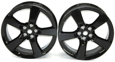 2010-2015 Chevy Camero SS Black 5 Spoke Wheel Rim Set Of 2 Aluminum 20x8 Black