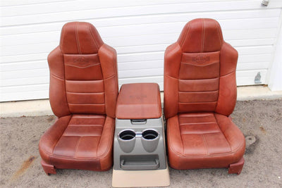 99-2010 FORD SD F250 F350 KING RANCH REAR LEATHER BUCKETS SEATS & CONSOLE WMOUNT