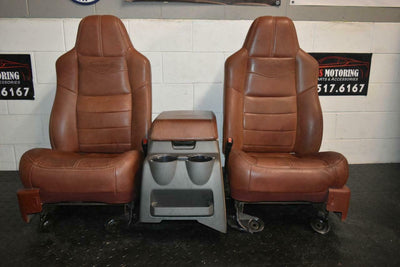 99-10 FORD SD F250 F350 KING RANCH FRONTLEATHER BUCKETS SEAT console