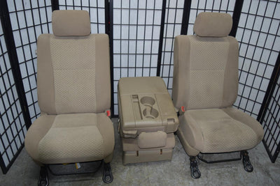 2007-2013 TOYOTA TUNDRA 40/20/40 FRONT SEATS W/ AIRBAG MANUAL TAN CLOTH JUMPSEAT
