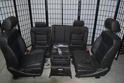 2014-2017 SILVERADO SIERRA OEM LEATHER SEATS FRONT & REAR SET JUMP SEAT CREW CAB