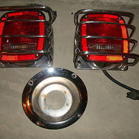 87-06 JEEP WRANGLER TAILLIGHTS W/ GUARD FREE CHROME GAS