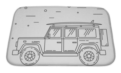 Bath Mat, Travel Car Family Camper With Surf Board Thin Line Traveler Truck Car Outline