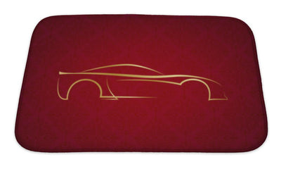 Bath Mat, Abstract Calligraphic Car Logo On Red