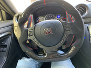 Gtr Flat Bottom Carbon Fiber Steering wheel red stitching