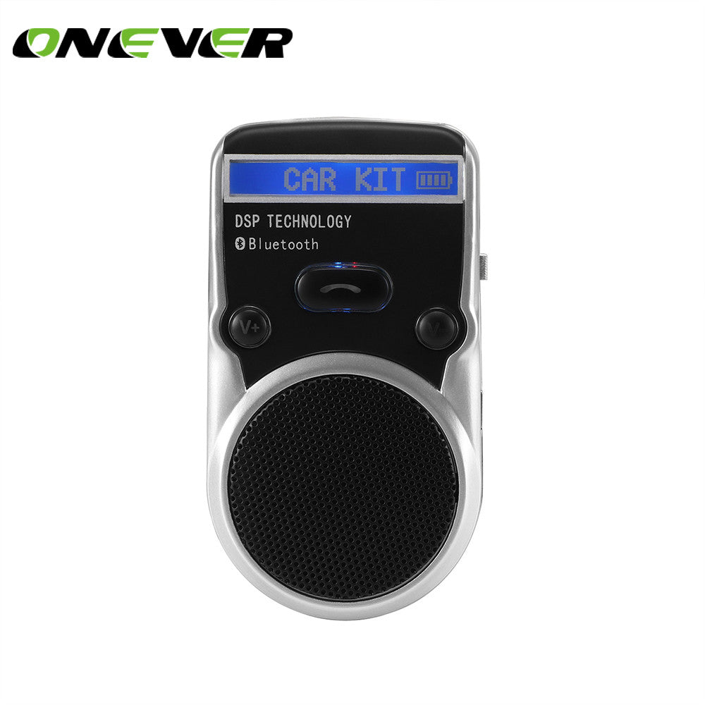 Onever Solar Car Bluetooth Speakerphone Hands-free Car Kit Sunvisor Car Player Support Call Record Talk with Car Charger