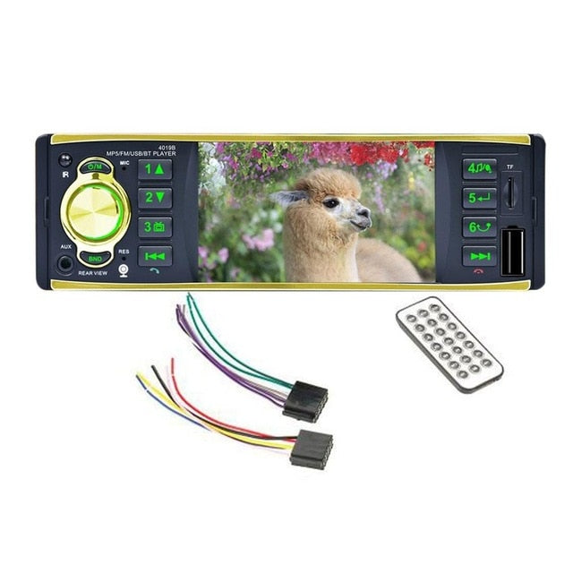 "4.1"" Single Din Car Radio Media MP5 Player Head Unit Bluetooth In-dash Stereo Waterproof Remote Control Car Rear View Camera"