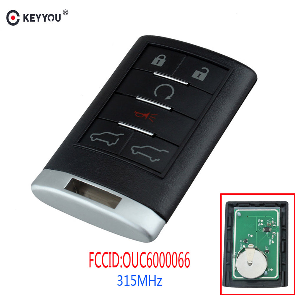 KEYYOU 6 Buttons Remote Key Keyless Entry Car Key Fob For Cadillac Escalade ESV EXT OUC6000066 315MHz 2007 2008 2009 2010 2011