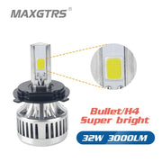 H4/Bullet 32W 3000LM DRL COB LED Headlight Bulbs HS1 H6 Hi/Lo 6000K 12V Motobike Motorcycle Moped Scooter Headlamp M3 Plus