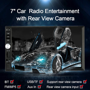 "7"" Universal 2 Din HD Car Radio MP5 Player BT Radio Entertainment Multimedia with Rear View Camera"