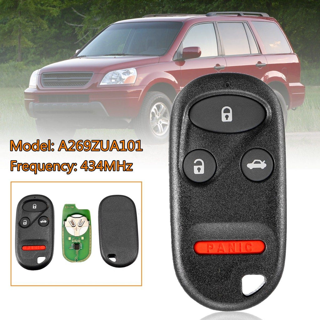 4 3+1 Buttons Car Remote Key Fob Case Shell with Battery 434MHz For Honda for Civic for Accord for Pilot FOR CR-V A269ZUA101