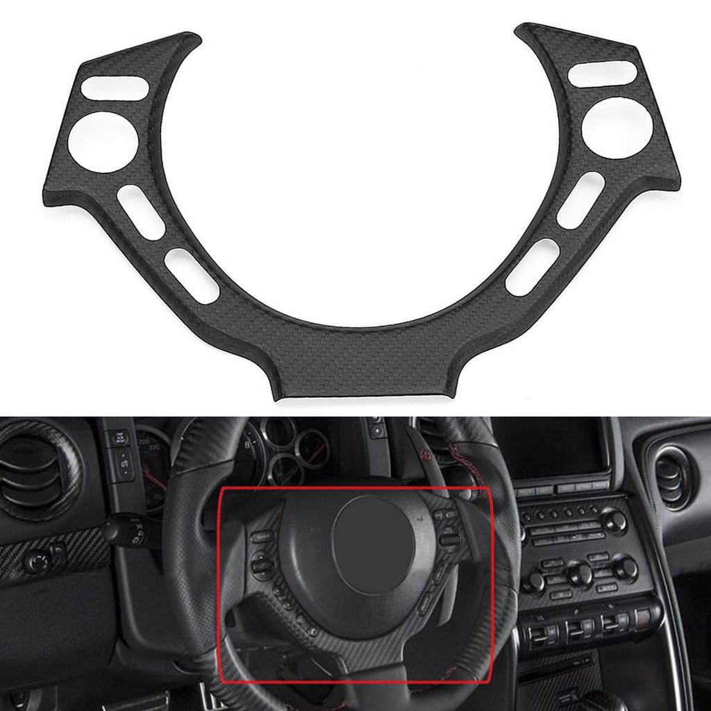 Car Real Carbon Fiber Steering Wheel Center Trim Cover Protector Glossy for NISSAN for GTR R35 2009-2016
