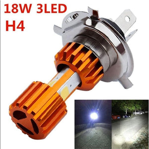 Motorcycle Headlight Bulb 2000LM Super Bright 3 COB LED Hi/Lo Lamp Lights