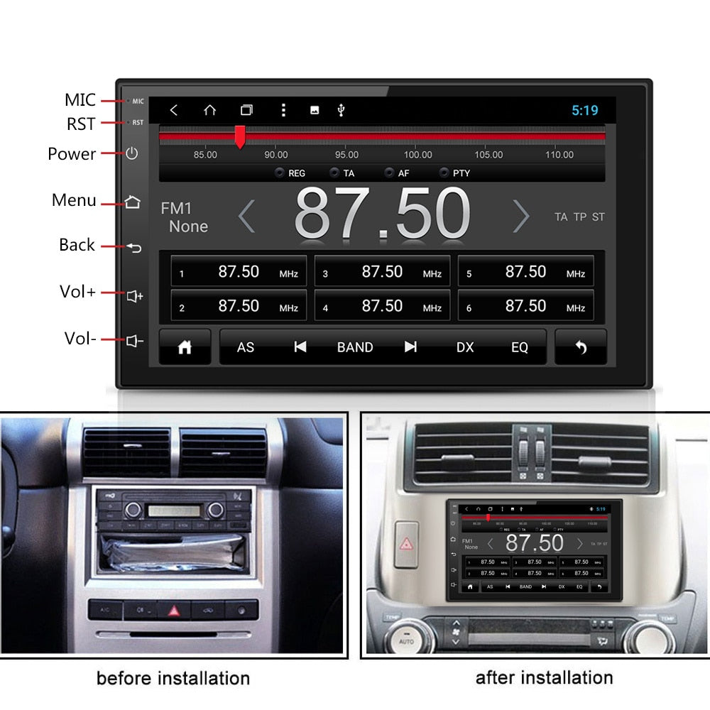 7 Inch Car Multimedia Player 1024P Car Stereo Android 8.0 Bluetooth WIFI  Core Radio Video MP5 Player 2DIN
