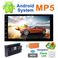 7 Inch Touch Screen 2Din Quad-Core Android 8.1 Car Stereo MP5 Player GPS Navi AM FM Radio WiFi BT4.0 Phone Link Head Unit New