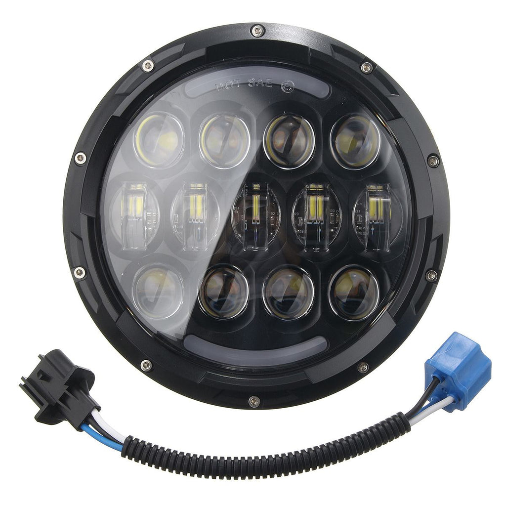 105W LED Front Headlight w/ H4 to H13 Adapter for HARLEY Davidson Softail  Models 1991-2013 for Jeep High/Low beam 5500lm/3000Lm