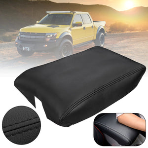 For Ford F150 Raptor 2009 2010 2011 2012 2013 2014 Black PU Leather Center Console Lid Armrest Cover