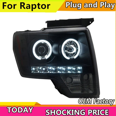 Car Styling for Ford Raptor LED Headlight F150 Headlights 2008-2014 DRL Lens Double Beam H7 HID Xenon Car Accessories