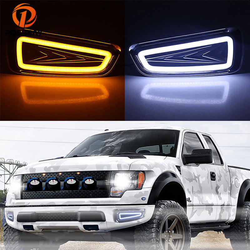 POSSBAY Car LED Daytime Running Light White Yellow Turn Signal Lights Fit for Ford F150 SVT Raptor DRL Daylights