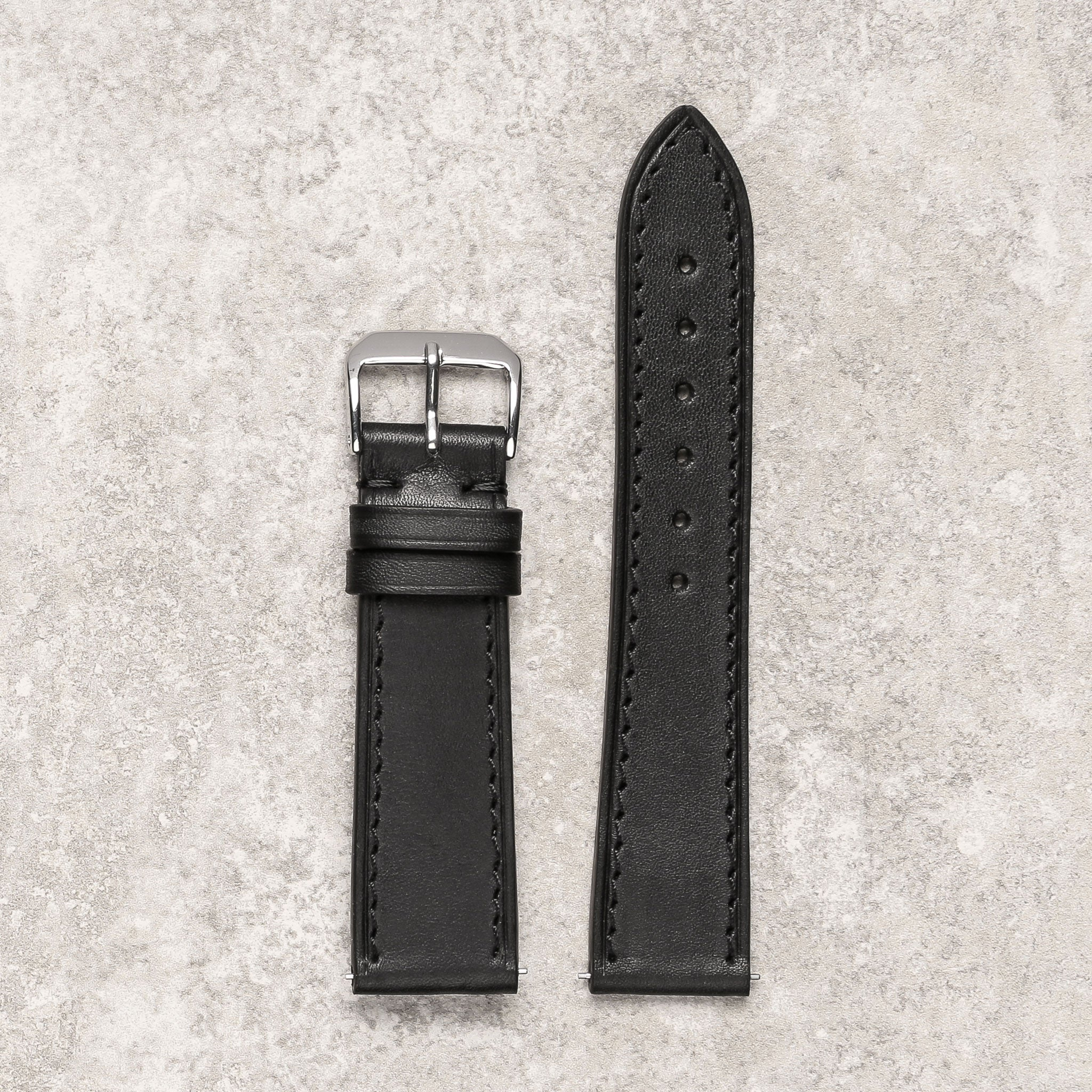 Thin black noir watch strap watch band Montreal Diametris