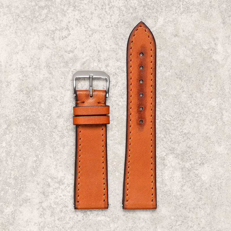 Impeccable burnished caramel watch strap