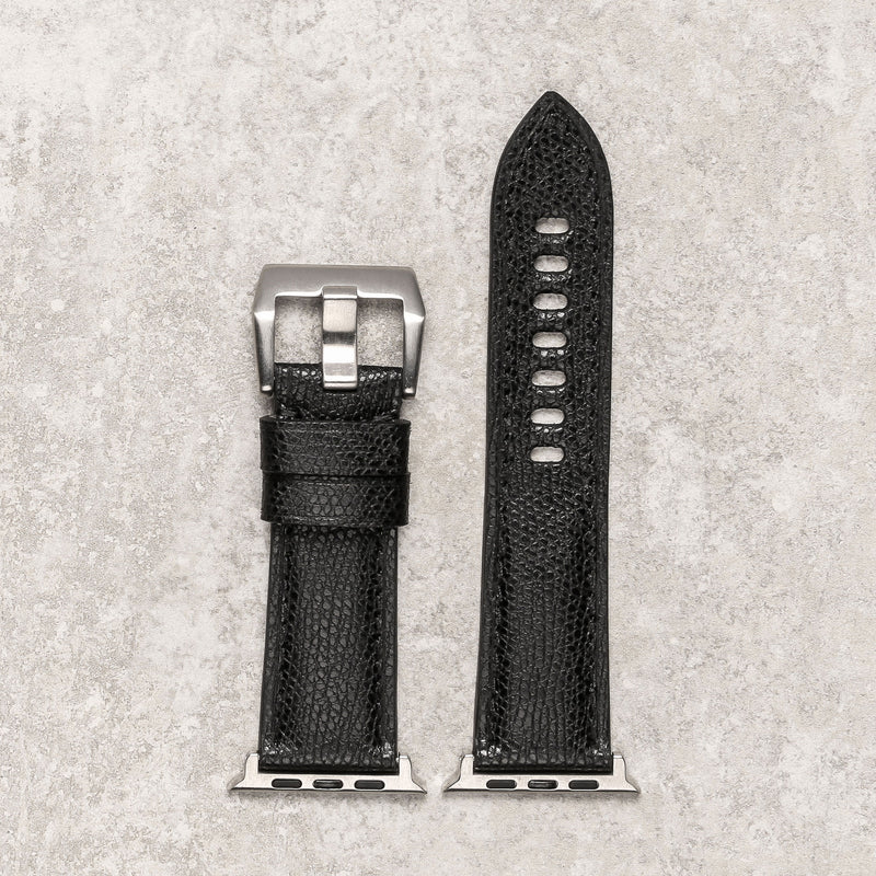 Diametris Apple Watch Major  textured black leather replacement strap - Case size 42mm/44mm - silver adaptors