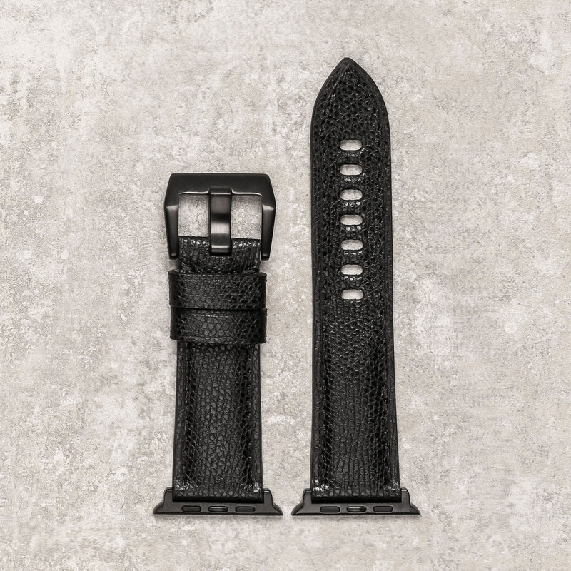 Diametris Apple Watch Major  textured black leather replacement strap - Case size 42mm/44mm - black adaptors