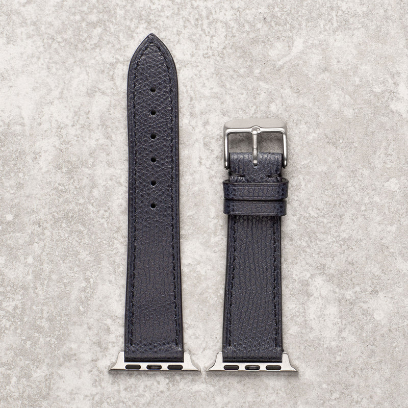 Diametris Apple Watch textured navy leather replacement strap - Case size 42mm/44mm