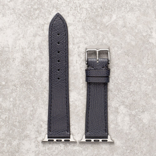 Diametris Apple Watch textured navy leather replacement strap - Case size 38mm/40mm